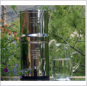 Berkey water system with pitcher of clear clean water