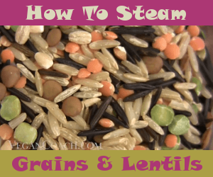 Brown rice and lentils in a steamer bowl