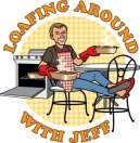Cartoon of Jeff sitting back on a chair with his feet up holding two loaves with oven mitts
