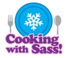 Cartoon of our Cooking With Sass Winter season plate with silverware