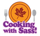Cartoon of our Cooking With Sass Autumn season plate with silverware