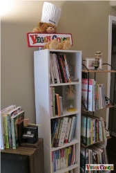 Bookcase of vegan cookbooks