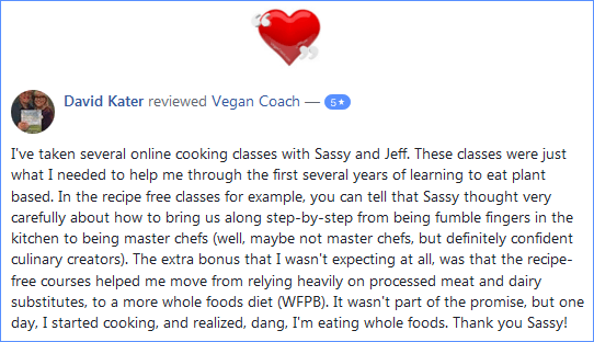 Vegan Coach Cooking Classes Facebook Review - David