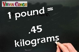 Chalkboard with calculation that shows 1 pound equals .45 kilograms
