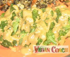 Broccoli covered in a rich creamy sauce