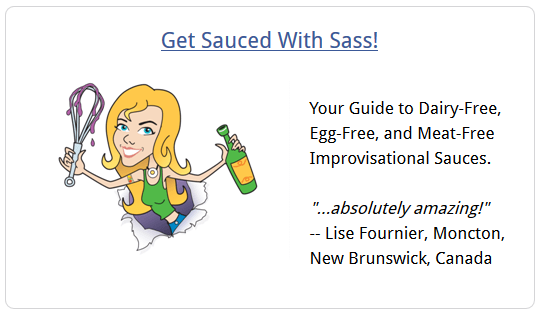 Cartoon image of Sassy holding a wine bottle and a dripping whisk