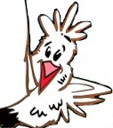 Cartoon of a chicken peeking out