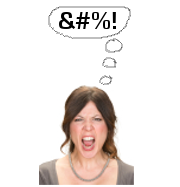 Woman is angry and thinking of a curse word made with symbols