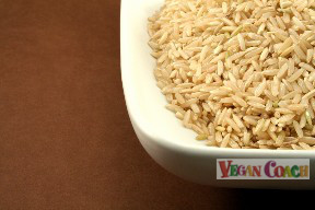 Dish of brown rice