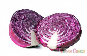 A head of red cabbage cut in half