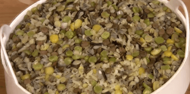Steamed brown rice/wild rice/barley/green split peas/yellow split peas combo