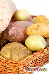 A variety of potatoes in a basket