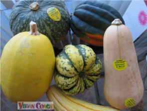 Winter squash varieties sitting on my kitchen table