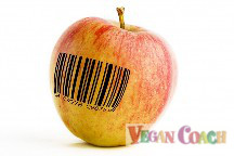 An apple with a bar code stamped on it