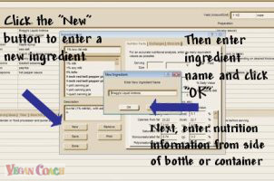 Click the New button to enter a new ingredient, then enter the ingredient name and click OK, and finally enter nutrition information from side of bottle or container