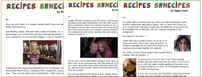 Click for an example of our weekly vegan cooking newsletter