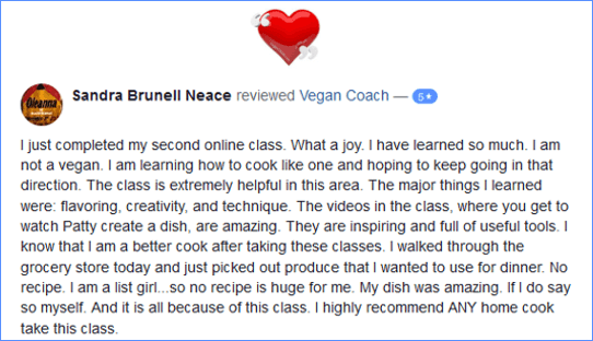 Vegan Coach Cooking Classes Facebook Review - Sandra