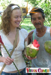 Sassy drinking coconut water in Costa Rica