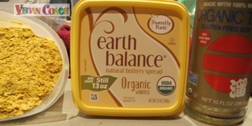 Nutritional yeast, Earth Balance, and Tamari