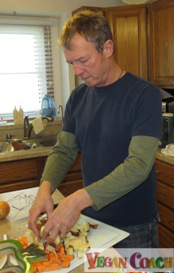 Jeff making soup in the kitchen