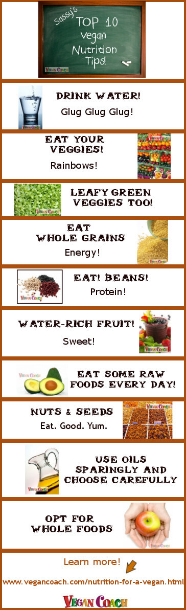 Vegan Coach's Top 10 Vegan Nutrition Tips. Your quick guide to the basics of nutrition of a vegan! Click to find links to lots of helpful information you can use today...