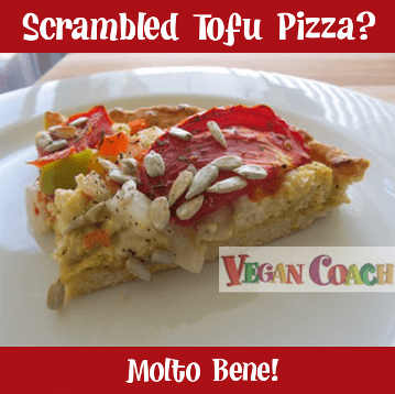 Vegan scrambled tofu pizza?  Yes, please!...