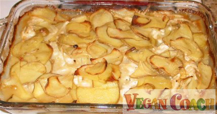 A large dish of just-out-of-the-oven scalloped potatoes