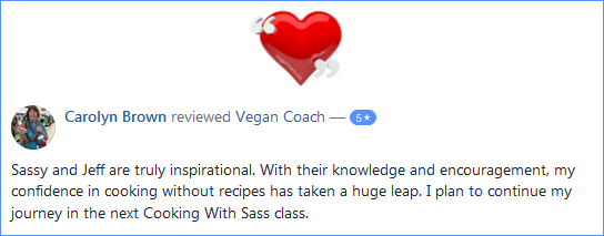 Vegan Coach Cooking Classes Facebook Review - Carolyn