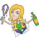 Cartoon of Sassy holding a whisk and a wine bottle