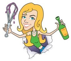 Cartoon of Sassy holding up a dripping whisk and a bottle of wine