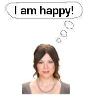 Brown-haired woman smiling with a thought bubble that says I am happy!