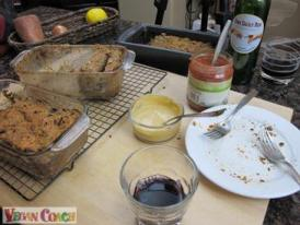 Taste testing no-meat Veggie Loaves with a bottle of wine
