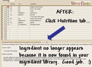 AFTER:  Click Nutrition tab - ingredient no longer appears because it is now found in your ingredient library.  Good job.  :)