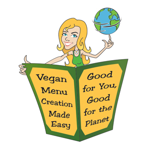 Cartoon of Sassy holding a menu that says Vegan Creation Made Easy - Good For You, Good For the Planet
