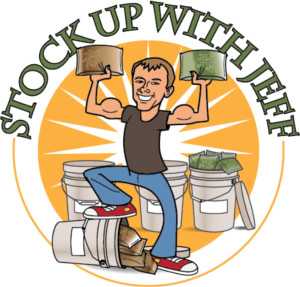 Cartoon of Jeff holding up bags of beans and grains with the words Stock Up With Jeff