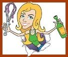 Cartoon image of Sassy holding a bottle of wine and a whisk dripping with sauce