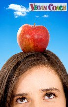 Woman thinking about an apple