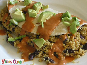 Quinoa and black beans rolled into a tortilla and covered with Southwestern sauce and chunks of avocado